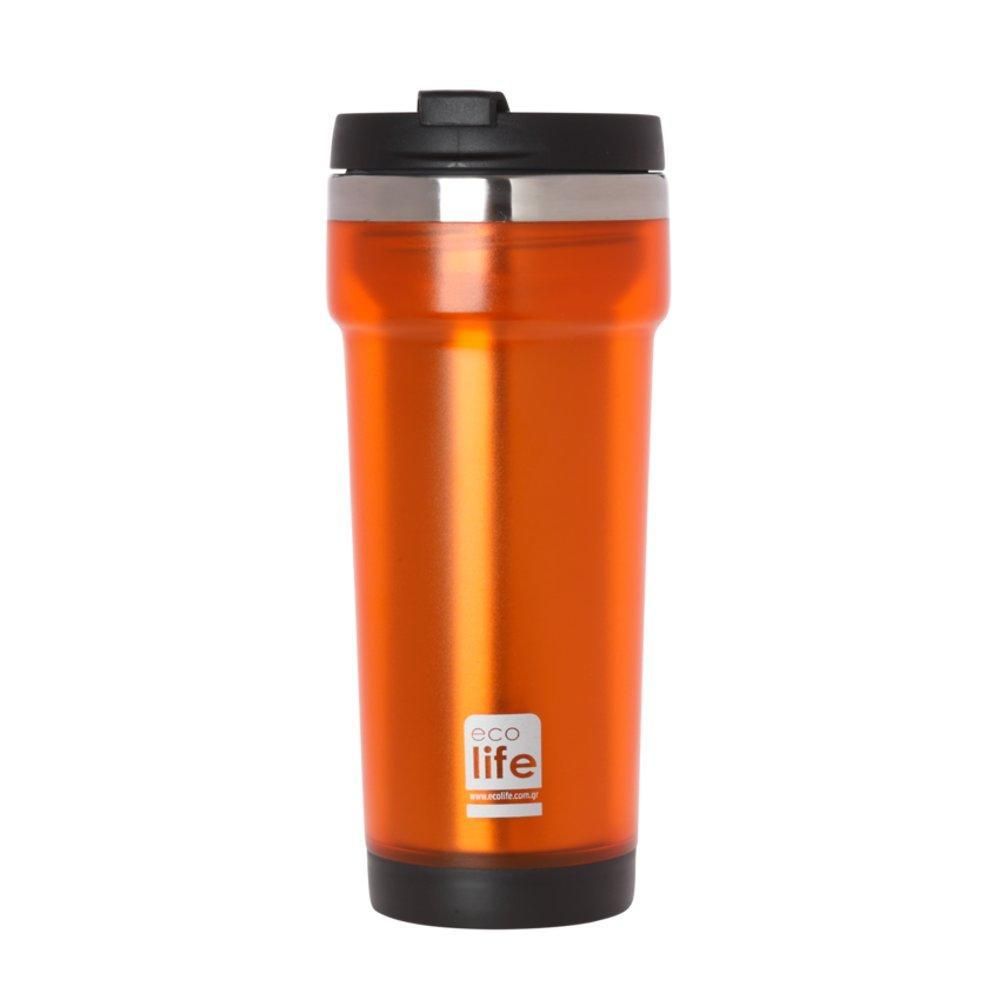Orange coffee thermos 420ml (plastic outside)