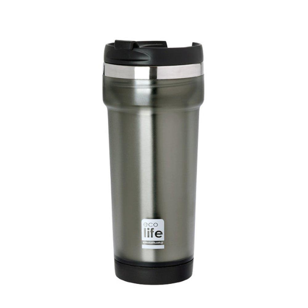 Grey coffee thermos 420ml (plastic outside)