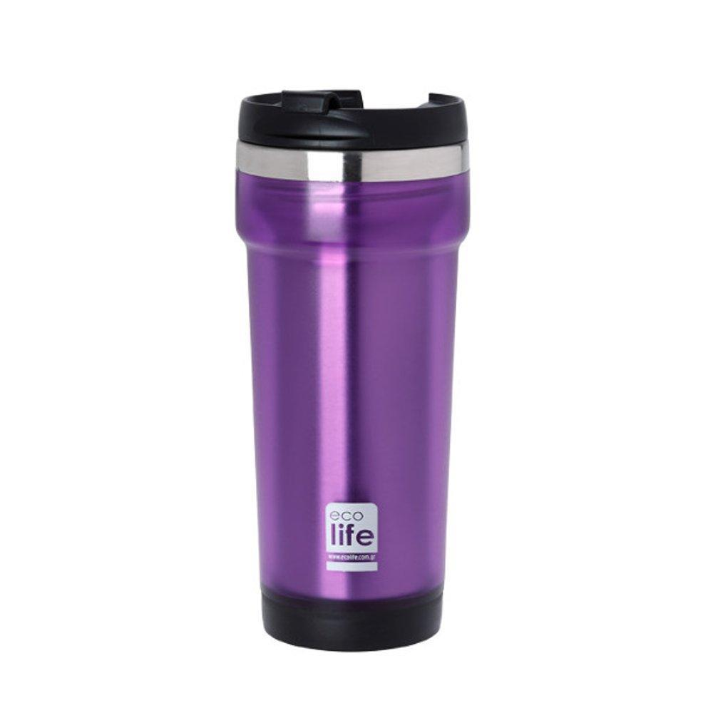 Purple coffee thermos 420ml (plastic outside)